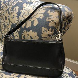 "Coach small black mini purse 9"" wide x 5"" deep"